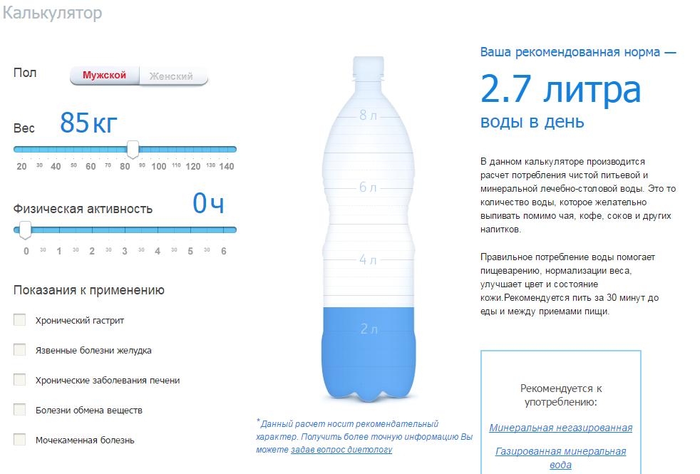 Сколько можно пить минеральной воды в день